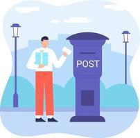 älterer Mann, der Brief vom vollen Briefkastenpostdienst flache Vektorillustration erhält. Mail gesendet Konzept Illustration Vektor
