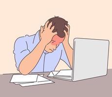 Geschäft, Frustration, psychischer Stress, Depression, Arbeitskonzept. Der junge depressive, stressige, frustrierte Geschäftsmann, der im Büro arbeitet, verwendet einen Laptop. Überarbeitung und negative Emotionen oder Kopfschmerzen vektor