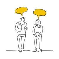 två unga kvinnor går tillsammans och pratar med pratbubblor kontinuerlig linjeteckning. ung flicka diskuterar om daglig aktivitet under hemvistelsen isolerad på vit bakgrund