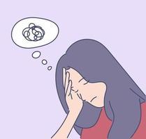 mental stress, depression, trötthet, frustration koncept. ung depression frustrerad kvinna eller flicka tonåring sitter på golvet hemma. trötthet, ökning av mental stress på grund av huvudvärk eller dåliga nyheter. vektor