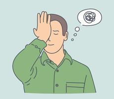 problem, stress, tänkande set koncept. ung man har affärsproblem, utbryter i pratbubblan. kritiskt tänkande är till hjälp. höjning av stressnivån gör nervös. enkel platt vektor