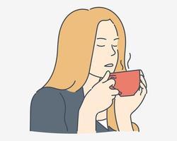 kaffetid, avkoppling, mysigt koncept. ung kvinna eller flicka tycker om att ha kaffe på morgonen. handritade stilvektordesignillustrationer. vektor