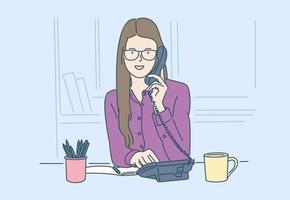 Geschäft, Kommunikation, Diskussion, Arbeitskonzept. jung glücklich mit einem Lächeln Frau, Geschäftsfrau, macht einen wichtigen geschäftlichen Anruf. vektor