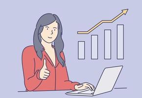 Statistik, Geschäft, Erfolg, Zielerreichung, Feierkonzept. junge Geschäftsfrau Clerk Manager Broker Zeichentrickfigur feiert Aktiengewinnwachstum. Erreichung der Ziele gewinnen Illustration vektor