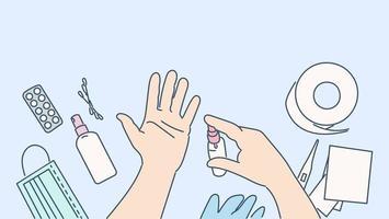 Gesundheitswesen, Quarantäne, Schutz, Coronavirus-Infektionskonzept. Händedesinfektionsmittel zur Vorbeugung von Erkältungen, Viren, Coronaviren und Infektionskontrollkonzepten. Vorbeugende Maßnahmen gegen Covid19-Krankheit und 2019ncov vektor