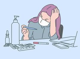 hälsovård, karantän, skydd, koronavirusinfektionskoncept. sjuk ung kvinnaflicka med medicinsk ansiktsmask förbryllad att titta på termometern. vektor