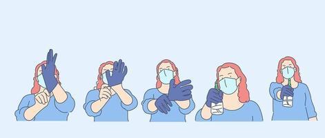 hälsovård, karantän, skydd, koronavirusinfektionskoncept. ung kvinnaflicka med medicinsk ansiktsmask sätter på handskar och häller antiseptisk. vektor