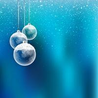 Weihnachtskugeln mit Schnee vektor