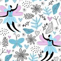 nahtloses Muster mit Karikatur niedliche Fee, Schmetterling, Blumen, verlassen und Liebe lokalisiert auf weißem Hintergrund. Stoffdesign für Mädchen Kunstwerke, Tapeten, Drucke. Vektor Kinder Illustration