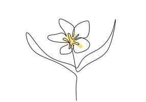 vacker blomma en linje kontinuerlig ritningsstil. jasmin balinesisk blomma minimalistisk design. färsk skönhet jasmin blomma för trädgård logotyp isolerad på vit bakgrund. vektor illustration