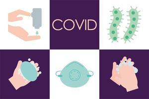 covid-19 platt stil ikonuppsättning vektor