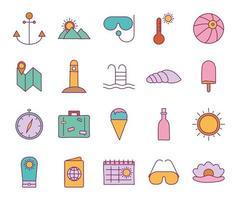 Sommer Linie und Füllstil Icon Set vektor