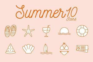 Sommer Linie Stil Icon Set vektor