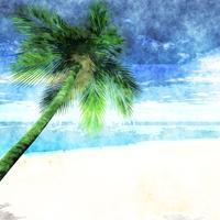 Akvarell palm på stranden vektor