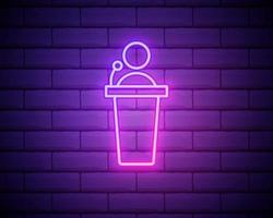 glödande neon högtalarikonen isolerad på tegelvägg bakgrund. talare som talar från tribun. offentligt tal. person på pallen. vektor illustration