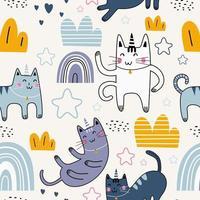 nahtloses Muster der niedlichen Katze mit niedlichem Charakter. lustige Tierkatze mit Stern, Regenbogen, Wolken, Liebe und Pflanze. Vektorbild lokalisiert auf einem weißen Hintergrund. Textil für Kinder drucken
