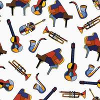 nahtlose Musikinstrumente auf weißem Hintergrund. Musikmuster von Klavier, Gitarre, Cello, Trompete, Saxophon. flacher Vektorentwurf für Musikfestival. das Konzept mit Musikausrüstung gesetzt