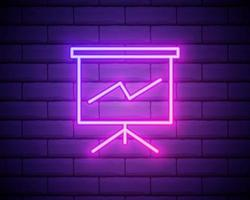 Whiteboard mit Präsentations-Neon-Symbol. einfache dünne Linie, Umrissvektor von Web-Symbolen für UI und UX, Website oder mobile Anwendung isoliert auf Mauer vektor