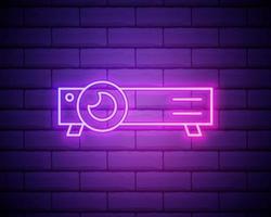 glödande neonlinje presentation, film, film, medieprojektor ikon isolerad på tegelvägg bakgrund. vektor illustration