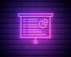 whiteboard med presentation neon ikon. enkel tunn linje, dispositionsvektor av webbikoner för ui och ux, webbplats eller mobilapplikation isolerad på tegelvägg. vektor