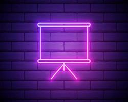 Whiteboard mit Präsentations-Neon-Symbol. einfache dünne Linie, Umrissvektor von Web-Symbolen für UI und UX, Website oder mobile Anwendung isoliert auf Mauer. vektor