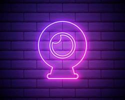 Webcam-Symbol. Element minimalistischer Symbole für mobile Konzepte und Web-Apps. Das Neon-Webcam-Symbol kann für Web und Mobile auf Backsteinmauer-Hintergrund verwendet werden. vektor