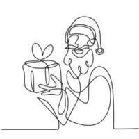 durchgehende einzeilige Weihnachtsmann gezeichnet von Handbildsilhouette. glückliche Santa stehende Pose und Geschenkbox geben. Weihnachten Weihnachtsmann. Konzept Line Art Urlaub für Weihnachten und Neujahr. vektor