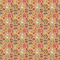 Nahtloses Muster, Textur, Hintergrund des Osterfeiertags. Kaninchen, Kuchen, Muffins, Kräuter, Eier, Blumen, Gewürze und Herzen. Kinderverpackungsdesign, Papier. isoliert vor dem Hintergrund. vektor
