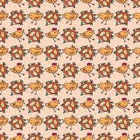 fåglar med ägg i boet. sömlösa mönster, konsistens, bakgrund. isolerad på beige bakgrund.