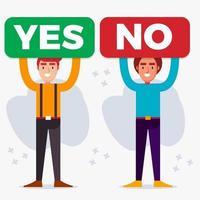 man som håller röstning ja nej skyltillustration i platt stil