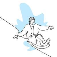 kontinuierliche einzeilige Zeichnung des professionellen jungen Snowboarder-Mannes reitet schnelles Snowboard am schneebedeckten Berg. Extremsport Winterkonzept. Minimalismus Design. Vektorskizzenillustration vektor