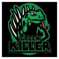 iguana maskot sport logo design vektor grafisk illustration. vild leguan reptil maskot. arg grön ödeldjur för sportlag. modernt koncept för märke, emblem och t-shirt utskrift.