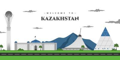 byggnadsvy med landmärke i Astana, Kazakstans huvudstad. vackert panorama landskap du måste besöka. världen länder städer semester resor sightseeing asien samling. vektor