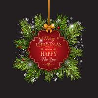 Weihnachtshintergrund mit Tannenbaumasten und dekorativem Aufkleber