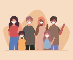 interracial Familie trägt Gesichtsmasken vektor