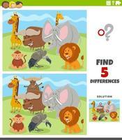 skillnader pedagogiskt spel med vilda djur karaktärer vektor