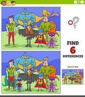 skillnader pedagogiskt spel med tecknade superhjältar vektor