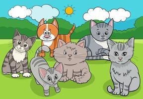katter och kattungar djur grupp tecknad illustration