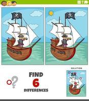 skillnader pedagogiskt spel med pirat och skepp vektor