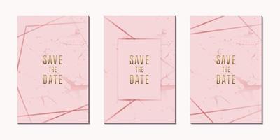 Einladungskarte Luxus Roségold mit Rahmen Vektor Design-Vorlage