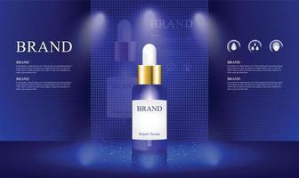 blå scen scen med ledd skärm och belysning för showcase kosmetisk produkt vektorillustration vektor
