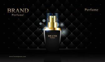 schwarzgoldener Lederpolsterhintergrund für kosmetisches Produkt mit 3d Verpackungsvektor vektor