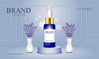 Hintergrundkosmetikprodukt mit Lavendel vektor