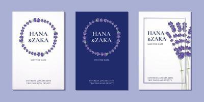 Hochzeitseinladungskarte Lavendel Sammlung Vektor Design Vorlage