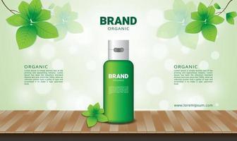 natürlicher und grüner Blatthintergrund für organische Kosmetik mit Holzboden vektor