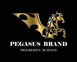 pegasus med framben upphöjda varumärkesdesign