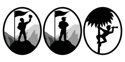 uppsättning av tre vektorbilder av klättrare som står på toppen av ett berg vektor