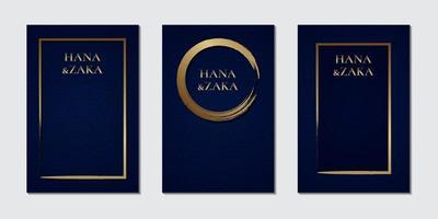 dunkelblaue Textur für Einladungskartenschablone mit gebürstetem Goldrahmen vektor