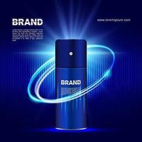 dunkelblauer Lichteffekthintergrund für kosmetische Produktanzeigen mit 3D-Verpackungsillustration vektor