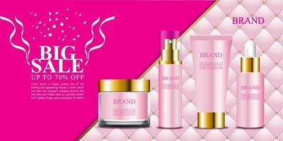 Kosmetikanzeige mit schönem rosa Polsterhintergrund vektor